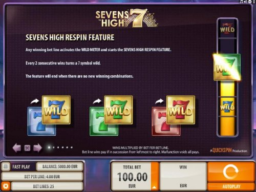Respin feature - Any winning bet line activates the Wild Meter and starts the Seven High Respin Feature. Every two consecutive wins turns a seven symbol wild. The feature will end when there are now new winning combinations. by Hotslot