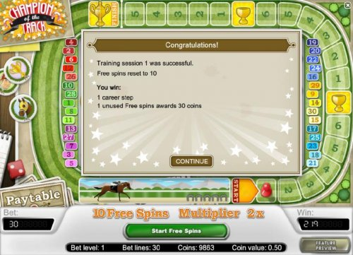 training session 1 was successful - free spins reset to 10 by Hotslot