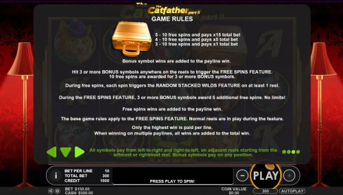 The Gold Briefcase is the game scatter symbol. Hit 3 or more Gold Briefcase bonus symbol anywhere on the reels to trigger the Free Spins feature. 10 Free Spins are awarded for three or more bonus symbols. - Hotslot