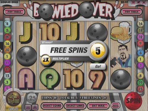 Hotslot - five free spins awarded