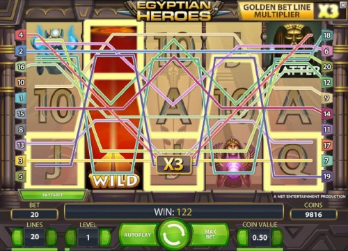Hotslot - multiple winning bet lines triggers a 122 coin payout