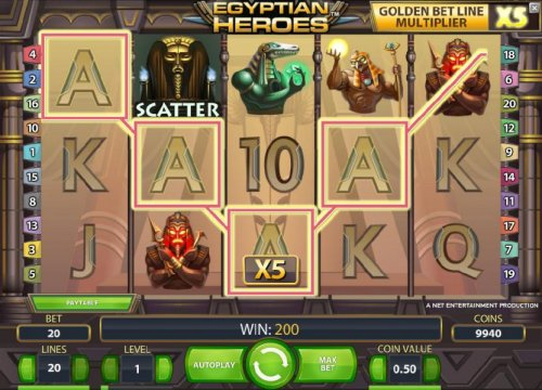 Hotslot - four of a kind and a golden belt line multiplier triggers a 200 coin jackpot
