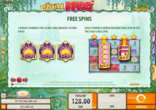 Hotslot - Free Spins - 3 bonus symbols pay 3x bet and trigger 10 free spins. Wild symbols added on each free spin after the first free spin.
