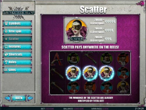 Three or more scatter symbols anywhere on screen awards free spins. - Hotslot