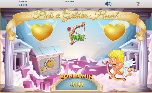 Select 1 of 3 golden hearts hearts. When a bow and arrow is revealed Cupid will shoot his arrow into the treasure chest, thus unlocking it and revealing a cash prize. - Hotslot
