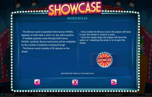 Bonus Rules - The bonus round is awarded when bonus wheel appears on both reels 2 and 4 on any active payline. by Hotslot