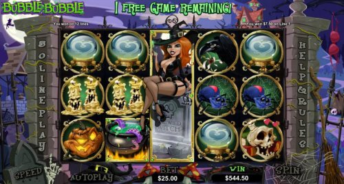 7 free games awarded - Winnin the Witch remains frozen on reel 3 during the free spins by Hotslot