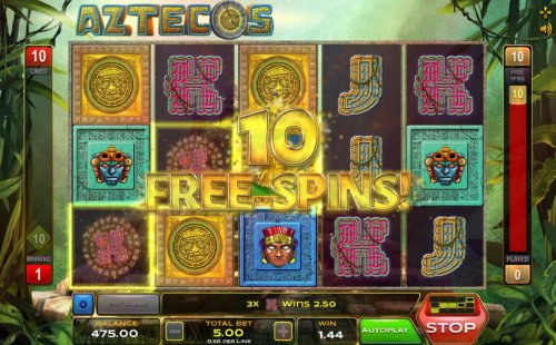 Hotslot - Landing 3 or moree Sun Calendar symbol on a payline triggers the free spins bonus feature.