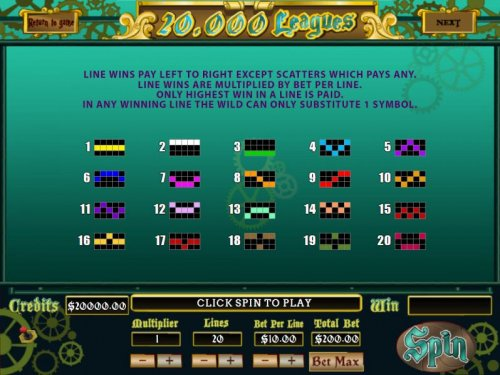 Payline Diagrams 1-20 Line wins pay left to right except scatters which pays any. by Hotslot