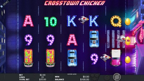 The chickens will use the crosswalk symbols to advance across the reels. The first chicken to reach the casino, awards a multiplier and a bonus game. by Hotslot