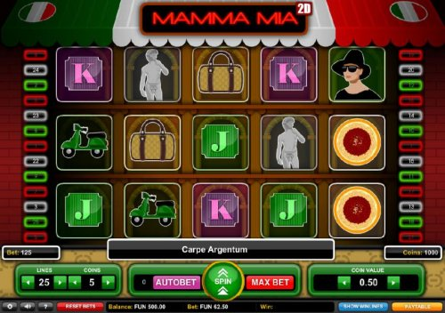 Main game board featuring five reels and 25 paylines with a $1,875 max payout by Hotslot