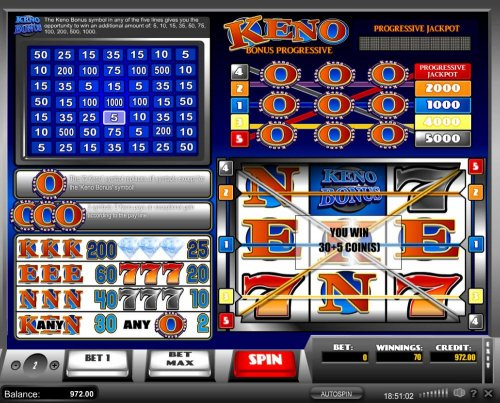 Hotslot - Evry time the Keno Bonus symbol appears in comjunction with a winning payline. The keno Bonus is activated, randomly selecting a win multiplier.