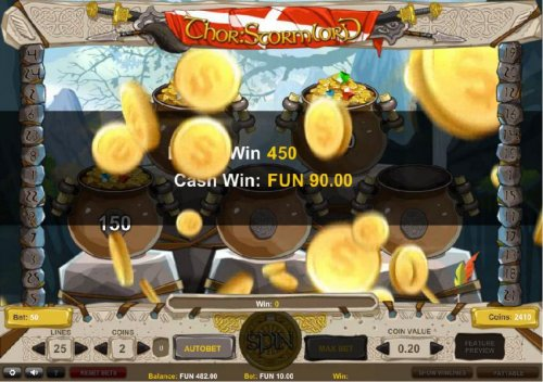 The bonus game pays out a total of 450 coins for a big win. - Hotslot