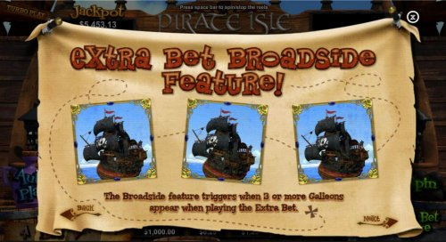 Extra Bet Broadside feature! The Broadside feature triggers when 3 or more Galleons appear when playing the extra bet. - Hotslot