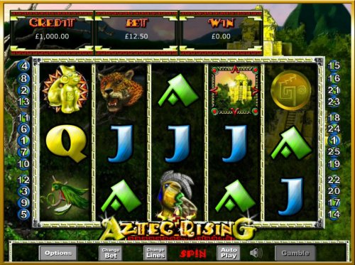 Main game board featuring five reels and 25 paylines with a $62,500 max payout. - Hotslot