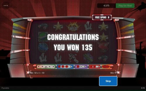 Hotslot - Free Spins feature pays out a total of 135.00