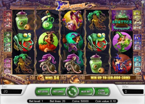 Hotslot - main game board featuring five reels, twenty paylines and a chance to win up to 120,000 coins
