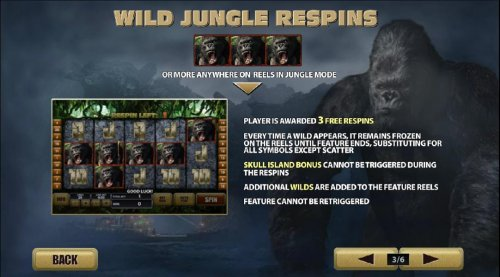 wild jungle respins with 3 or more anywhere on reels in jungle mode - Hotslot