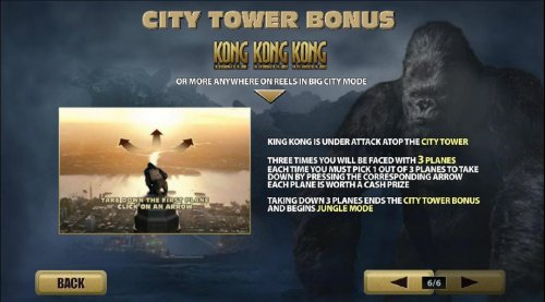 city tower bong with 3 or more kong symbols anywhere on reels in big city mode by Hotslot
