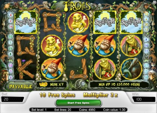 three scatter symbols triggers 10 free spins by Hotslot