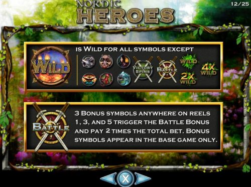 Wild symbol and exceptions. Shield and crossed swords bonus scatter symbol. 3 bonus symbols anywhere on reels 1, 3 and 5 trigger the Battle Bonus and pay 2 times the total bet. Bonus symbols appear in the base game only. by Hotslot