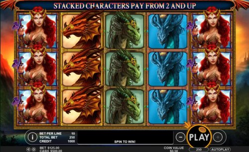 Hotslot - A dragon themed main game board featuring five reels and 25 paylines with a $50,000 max payout