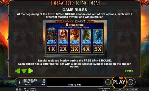 At the beginning of the Free Spins ROund choose one out of five options, each with a different stacked symbol and multiplier. by Hotslot