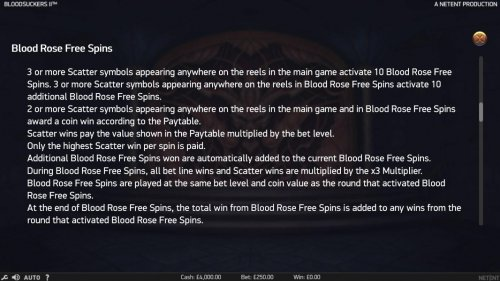 Hotslot - Blood Rose Free Spins Rules