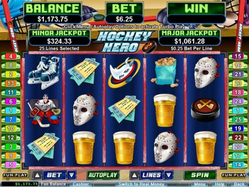 A sports themed main game board featuring five reels and 25 paylines with a $250,000 max payout by Hotslot
