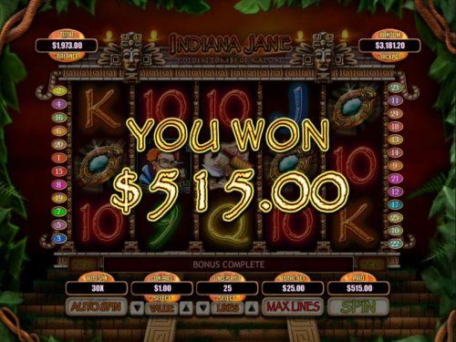 The Secret Tomb Bonus feature pays out a total jackpot of 515.00 for a big win. - Hotslot
